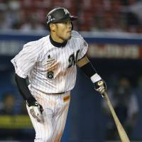 Four star: Chiba Lotte's Toshiaki Imae gets his fourth hit in a 4-for-4 performance in the Marines' 3-1 win over the BayStars on Friday. | KYODO