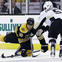 Bruins sweep high-powered Penguins on McQuaid's goal