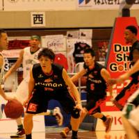 Moving on: The Bambitious Nara made guard Takuma Yamashiro (left), seen here playing for Saitama last season, their top pick in the expansion draft on Wednesday. | HIROAKI HAYASHI