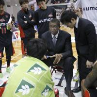 Short, impressive stint: Bill Cartwright, seen talking to his players during an April game, guided the Osaka Evessa to a 17-11 record to close out the 2012-13 season. The team was 5-19 before his arrival. | AP