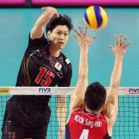 In position: Japan's Daisuke Yako spikes the ball against South Korea's Moon Sung-min during the teams' FIVB World League Pool C match in the intercontinental round on Saturday. South Korea defeated visiting Japan in four sets. | KYODO