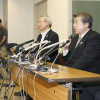 Job to do: All Japan Judo Federation chairman Haruki Uemura speaks at a news conference at Tokyo's Kodokan on Monday. | KYODO