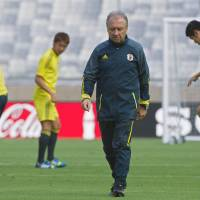 Face the music: National team manager Alberto Zaccheroni is under pressure after Japan lost all three of its first-round matches at the Confederations Cup. | AFP-JIJI