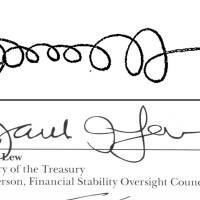 Oooooooo la la!: The signatures of U.S. Treasury Secretary Jack Lew from a Sept. 21, 2011, memo posted on the White House website (top) and on the 2013 Financial Stability Oversight Council report. | AP