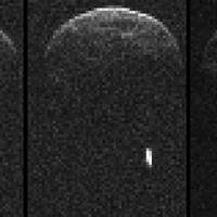 Close encounter: Radar images from NASA show asteroid 1998 QE2 and its moon when they were about 6 million km from Earth. | AFP-JIJI