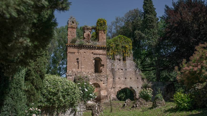Ancient ruins: The botanical garden of Ninfa, near Cisterna di Latina outside Rome, is seen in May.