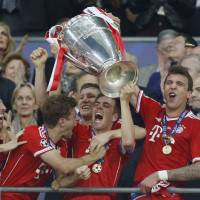 An all-German affair: Bayern Munich players react after winning the Champions League final against Borussia Dortmund on May 25 at Wembley Stadium in London, in a match that symbolized Germany's new ascendancy in Europe. | AP