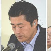 Seeking common ground: The secretaries-general of three opposition parties, (from left) Yorihisa Matsuno of Nippon Ishin no Kai (Japan Restoration Party), Goshi Hosono of the Democratic Party of Japan and Kenji Eda of Your Party, may soon launch a new party.  | KYODO