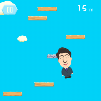 A screenshot of 'Abe Jumping' game for iPhones.
