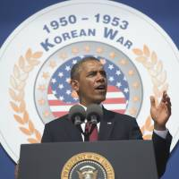 In praise: President Barack Obama speaks at the Korean War Veterans Memorial on Saturday. | AFP-JIJI