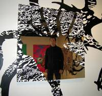 Self-reflection: Nobuhiro Ishihara stands inside his installation at nichido contemporary art. | DONALD EUBANK
