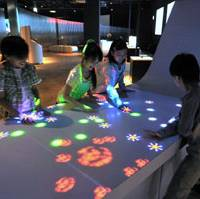 Sound Chaos: One of the exhibits that uses the Sony Computer Science Laboratories, Inc. SmartSkin sensor. | COURTESY OF SONY EXPLORASCIENCE