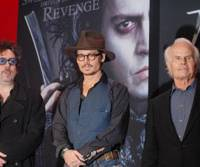 Director Tim Burton (far left), actor Johnny Depp (center) and producer Richard Zanuck in Tokyo last week to promote 'Sweeney Todd: The Demon Barber of Fleet Stree' | YOSHIAKI MIURA PHOTO