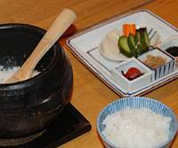 Along with your rice, you can order condiments such as the gohan no tomo set, which includes: tiny jako fish; bran-pickled vegetables; some sweet-salty nori tsukudani; and an umeboshi plum.