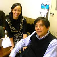Cesar Santoyo (right) and Lori Ligon help Filipino women in Japan acquire the skills to teach English and become financially self-reliant.