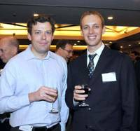 Networking: Jeremy Green (left), a manager at Mizuho Securities Co., Ltd., and Nick Gentle, a senior technical consultant at GL Trade Japan KK, enjoyed the show and the night out.
