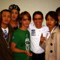 Hit maker: Songwriter Joey Carbone (third from right) poses with the popular Japanese band Kat-tun backstage at Tokyo Dome in June of 2007. Carbone has co-composed five songs for the group, including their hit single 'Signal' in 2006. | COURTESY OF JOEY CARBONE