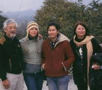 For the family: The Suzukis gather for a group photo in the mountains of Dharamsala in northern India. From left: David Suzuki, daughters Severn Cullis-Suzuki and Sarika Cullis-Suzuki, and wife, Dr. Tara Cullis. | COURTESY OF DAVID SUZUKI