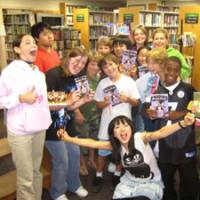 For the fans: Misako Takashima (front) poses with young fans after speaking at a New Jersey library in May 2009. | MISAKO ROCKS!