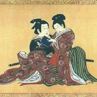 Different strokes: 'Spring Pastimes', a silk scroll circa 1750 by Miyagawa Issho, shows a tryst between a samurai and a boyfriend.
