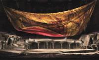 A sketch of the set for Mozart's opera 'Don Giovanni' depicts a crumbled Suntory Hall.