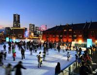 Chill out: An ice rink is open at the Red Brick Warehouse (Akarenga Soko) in Yokohama until Feb. 15. | AKARENGA SOKO