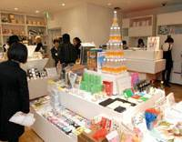 Grab bag: Tokyo Tower-shaped water bottles are interspersed with pens that look like tree leaves, clocks made from shredded ¥1,000 bills and much more at Tokyo's Tokyo. | YOSHIAKI MIURA PHOTO