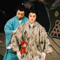 Class act: Agarie Yukichi (above left) and Arakaki Satoru (left) in 'Madamamichi,' a recently written classical Okinawan drama. Below: Miyagi Noho in 'A Woman Deranged,' playing at Tokyo's National Noh Theater on March 29 | THE NATIONAL THEATER, OKINAWA
