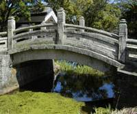 Pont of interest: This lovely stone bridge, named Banseibashi, is in a park surrounding the remains of Hagi Castle.