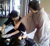 Fancy a cuppa?: Kimono-clad tea-ceremony experts in the Sankei Memorial museum and shop show visitors how to prepare and serve green tea the traditional way.