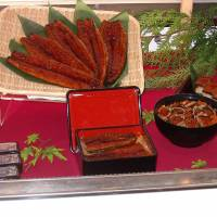 Eel appeals: A display at Sealink International Co.'s eel-culture farm at Xuejia, southwest Taiwan, shows a finger-lickin' range of glaze-grilled Anguilla japonica delights — in the shapes of (L-R) whole grilled unagi; unagi bento¯; unagi donburi; and unagi sushi. | HILLEL WRIGHT PHOTO