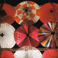 Head-turners: Fabulous paper umbrellas on display during Yamaga's Winter Festival. | MANDY BARTOK PHOTO