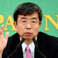 Monitoring China, U.S.: Takehiko Nakano, president of the Asian Development Bank, speaks during a press conference in Tokyo on Wednesday. | AFP-JIJI