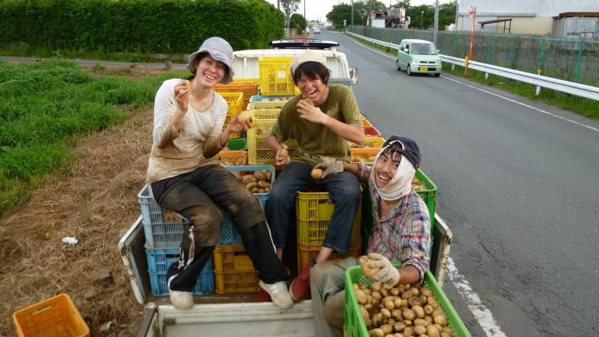 Spuds ready for market: Members of Wakamono Nouentai pose after harvesting potatoes at a farm in Ibaraki Prefecture in July.