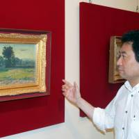 Retrospective: Tetsu Murakami of the Kumamoto Prefectural Museum of Art introduces works by Leonard Tsuguharu Foujita (1886-1968) at an exhibition that opened Tuesday in the city of Kumamoto. | KYODO