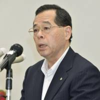 No fault: Japan Atomic Power Co. President Yasuo Hamada faces reporters Thursday in Tokyo. | KYODO