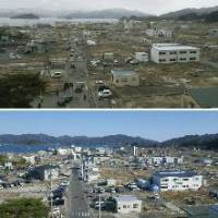 Snail's pace: The center of Yamada, Iwate Prefecture, is shown in March 2012 (above) and one year later, where some prefabricated housing units were starting to be built on the tsunami-ravaged land. | KYODO/NPO TOHOKU ARCHIVE