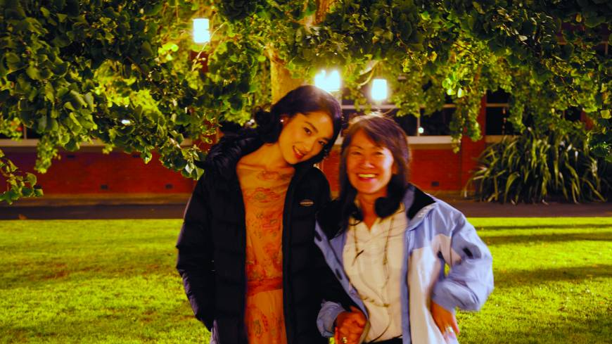"In the spotlights: Yoko Narahashi with ""Emperor"" actress Eriko Hatsune during filming."