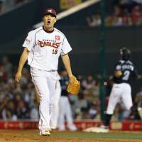 That winning feeling: Masahiro Tanaka is off to an 11-0 start for Rakuten this season. | KYODO