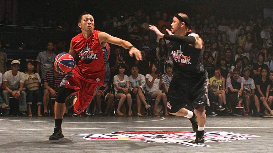 Not your normal setting: Streetball took over the dance floor at popular nightclub Ageha on Saturday.