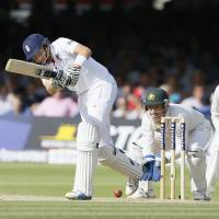 Good foundation: England's Joe Root plays a shot during the third day of the second Ashes test on Saturday at Lord's in London. | AP