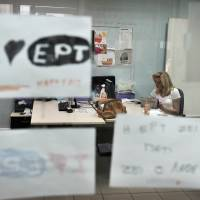 Live and kicking: An ERT journalist works in the newsroom of the public broadcaster's Athens headquarters on Friday. ERT employees are 'occupying' and managing the building themselves and broadcasting news over the Internet following the broadcaster's disputed closure. | AFP-JIJI