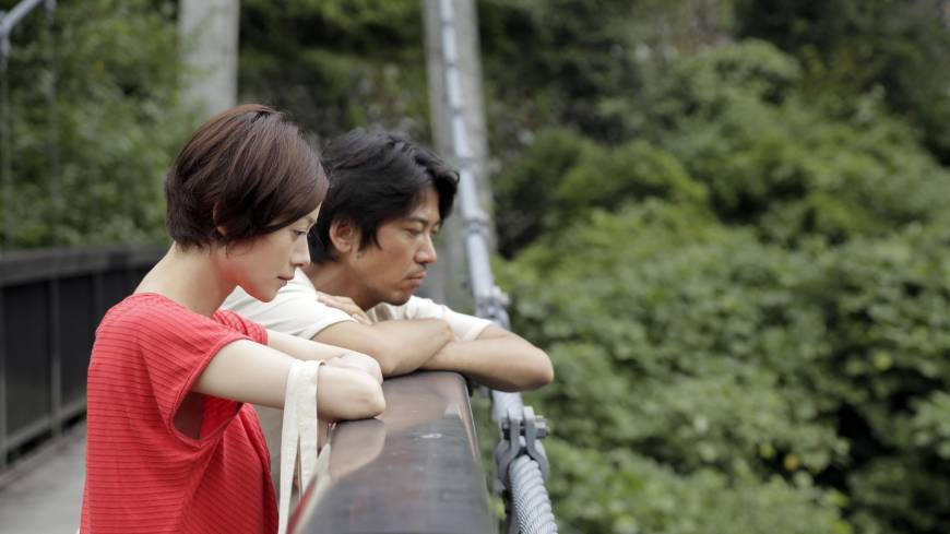 Staring at the abyss: Yoko Maki and Shima Onishi, seen in a still from 'The Ravine of Goodbye,' portray a couple involved in a rape case.