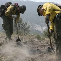 In the line of fire: Firefighters cut a line along a mountain ridge in Gila National Forest, New Mexico, in June 2012. | AP