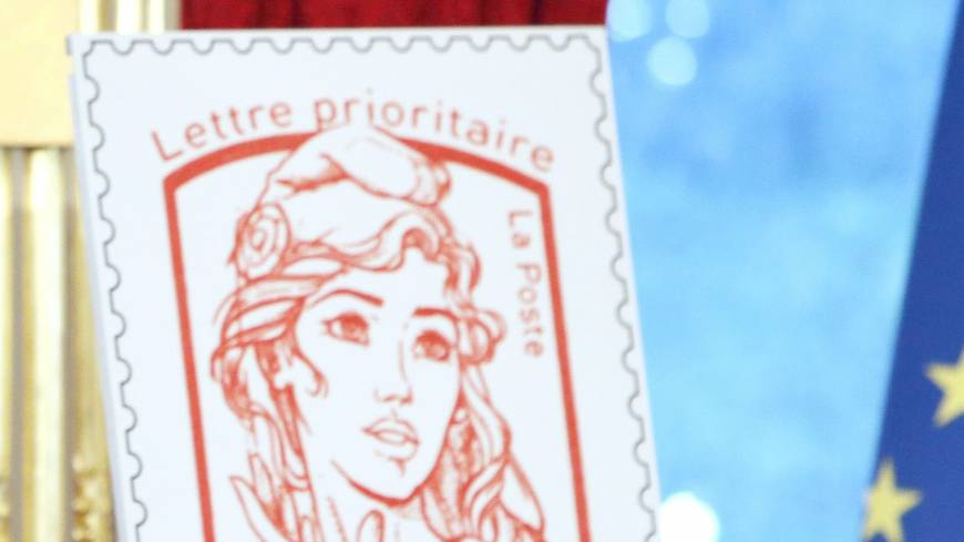 Symbolic stamp:  The new official postage stamp of Marianne, the symbol of the French republic, is unveiled Sunday in Paris during Bastille Day celebrations.