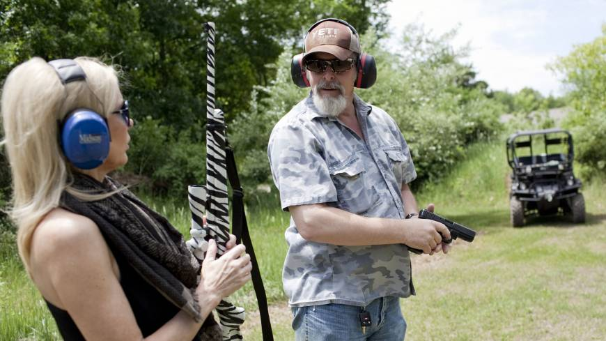 Nugent and his wife, Shemane, shoot guns on their Concord, Michigan, ranch on June 6. The Michigan property has a log cabin/hunting lodge, a shop where they keep their guns, guitars and a few vehicles, a lake with a boat, and numerous gun/bow and arrow ranges.
