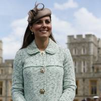 Attention!: Catherine, Duchess of Cambridge, attends the national review of Queen's Scouts at Windsor Castle in Berkshire, central England, in April. | AFP-JIJI