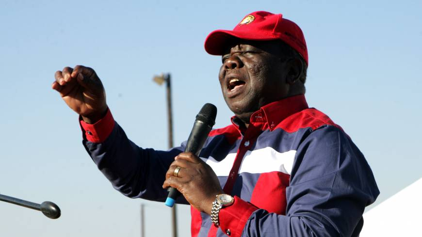 Zimbabwean Prime Minister Morgan Tsvangirai speaks during an campaign rally in Chinhoyi on July 27.