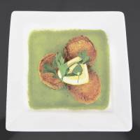 Cicada's crab cakes are from the Moroccan end of the restaurant's menu.     ROBBIE SWINNERTON