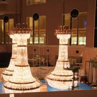 See how a huge chandelier is cleaned; Yokohama to host more conferences